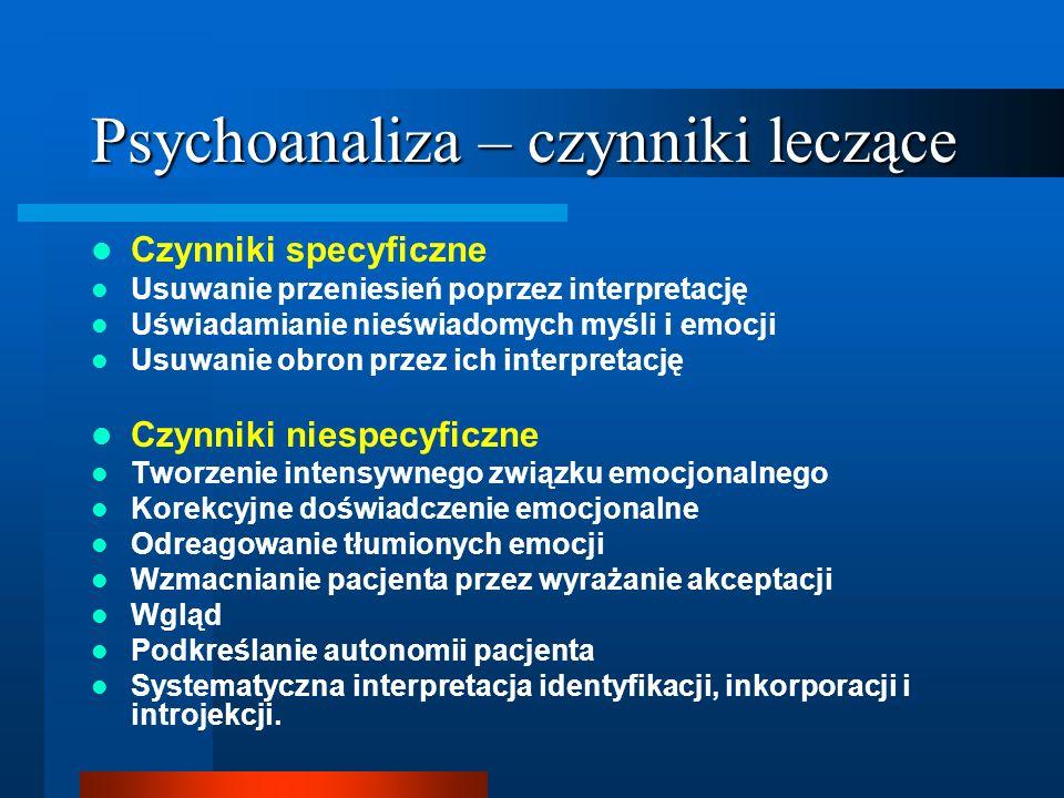 Psychoanaliza – czynniki leczące Czynniki specyficzne Usuwanie przeniesień poprzez interpretację Uświadamianie nieświadomych myśli i emocji Usuwanie o