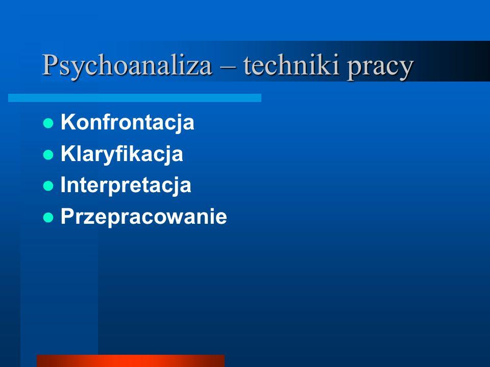 Psychoanaliza – techniki pracy Konfrontacja Klaryfikacja Interpretacja Przepracowanie