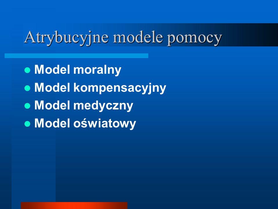 Atrybucyjne modele pomocy Model moralny Model kompensacyjny Model medyczny Model oświatowy