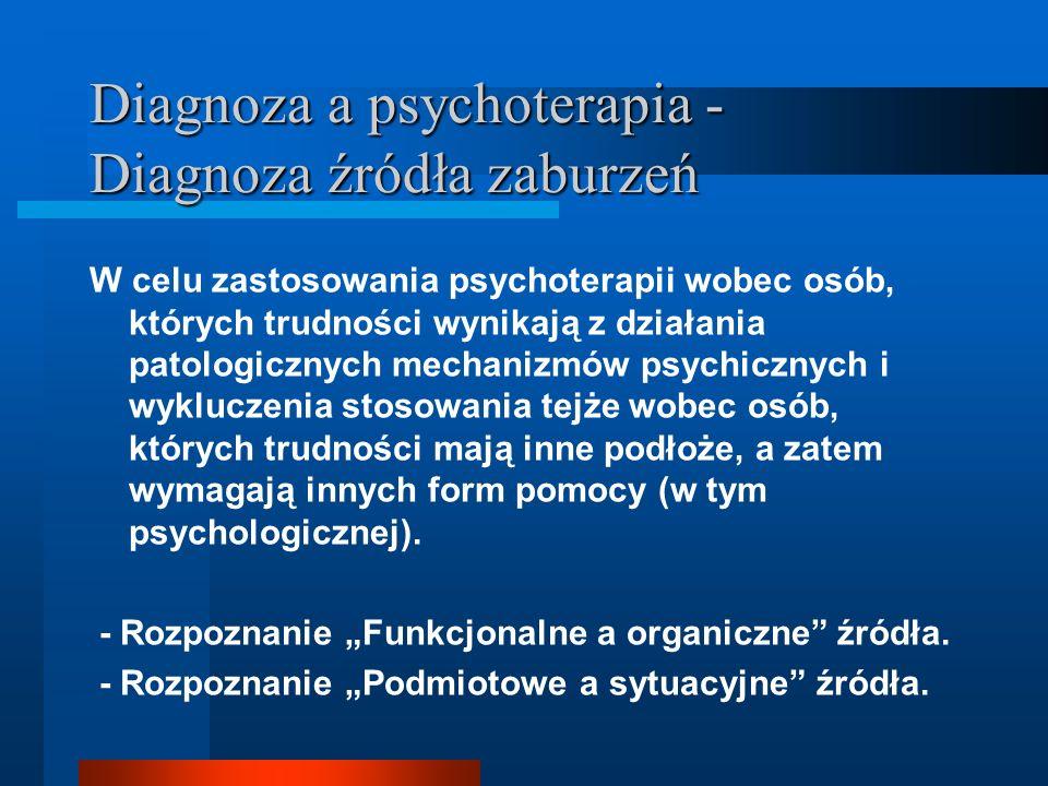 Diagnoza a psychoterapia - Diagnoza rodzaju zaburzeń Psychiatryczna diagnoza nozologiczna Problem etykietowania Słabość narzędzi diagnostycznych, nadużycia w rozpoznawaniu, problem testów psychologicznych Diagnoza psychologiczna Terapia behawioralna – kategorie psychiatryczne Stosowanie ogólnych kategorii – typów zaburzeń (nerwice, psychozy) bądź obszarów (funkcji) zaburzeń odmiennych etiologicznie i wymagających innego postępowania Własne kategoryzacje – często nawiązujące do klasycznej nozologii, ale nadające tym kategoriom inne znaczenie w ramach teorii