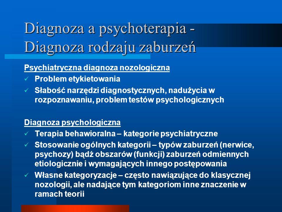 Diagnoza a psychoterapia - Diagnoza rodzaju zaburzeń Psychiatryczna diagnoza nozologiczna Problem etykietowania Słabość narzędzi diagnostycznych, nadu