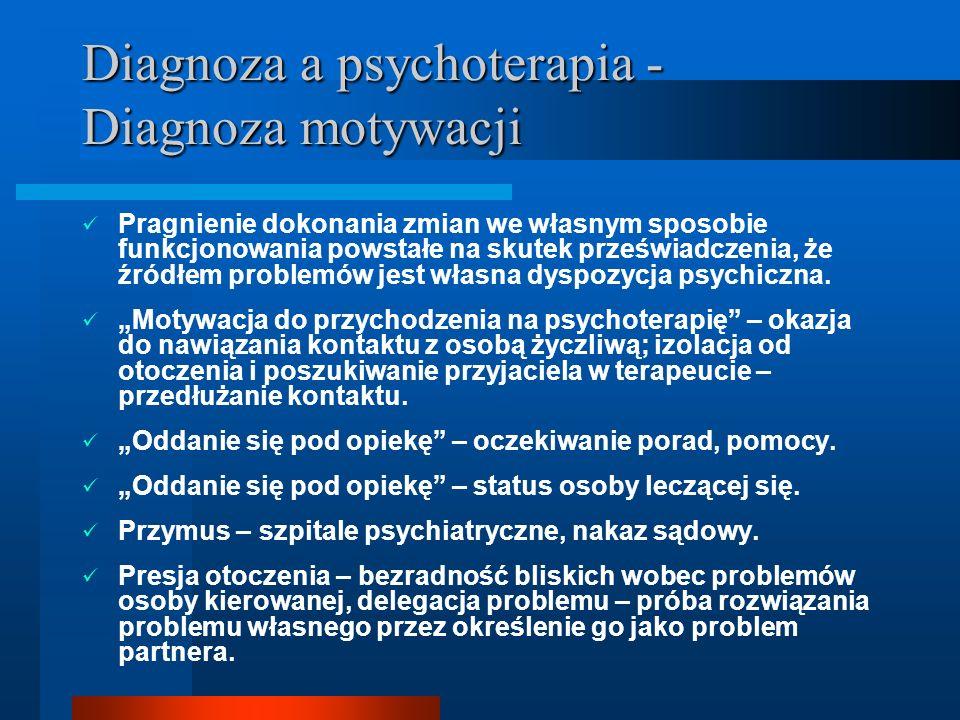 Diagnoza a psychoterapia - Diagnoza motywacji Pragnienie dokonania zmian we własnym sposobie funkcjonowania powstałe na skutek przeświadczenia, że źró