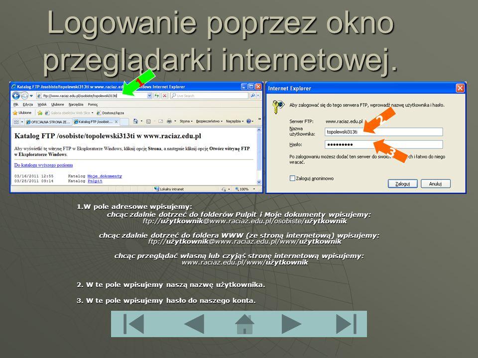 Logowanie poprzez okno przeglądarki internetowej.
