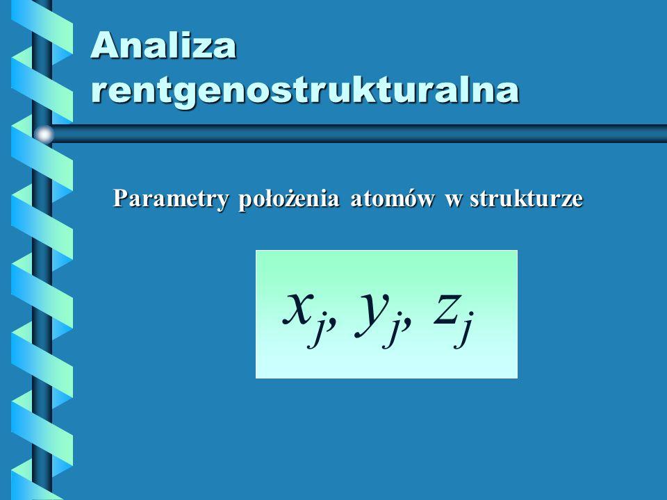 Analiza rentgenostrukturalna Parametry położenia atomów w strukturze x j, y j, z j