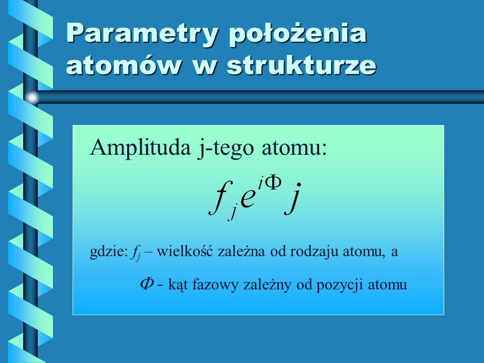 Parametry położenia atomów w strukturze Amplituda j-tego atomu: gdzie: f j – wielkość zależna od rodzaju atomu, a - kąt fazowy zależny od pozycji atom
