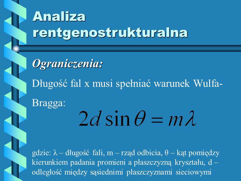 Analiza rentgenostrukturalna Ograniczenia: Długość fal x musi spełniać warunek Wulfa- Bragga: gdzie: λ – długość fali, m – rząd odbicia, θ – kąt pomię