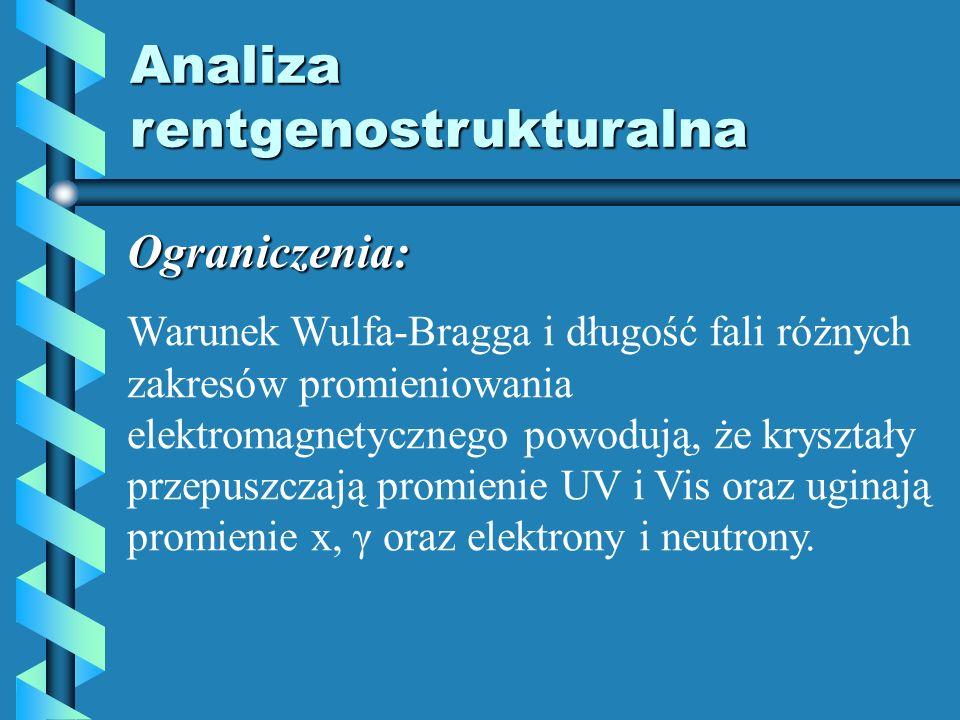 Analiza rentgenostrukturalna Ograniczenia: Warunek Wulfa-Bragga i długość fali różnych zakresów promieniowania elektromagnetycznego powodują, że krysz