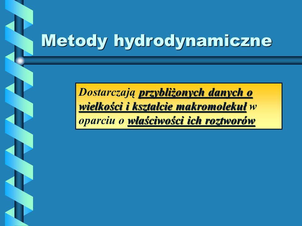 Metody hydrodynamiczne przybliżonych danych o wielkości i kształcie makromolekuł właściwości ich roztworów Dostarczają przybliżonych danych o wielkośc