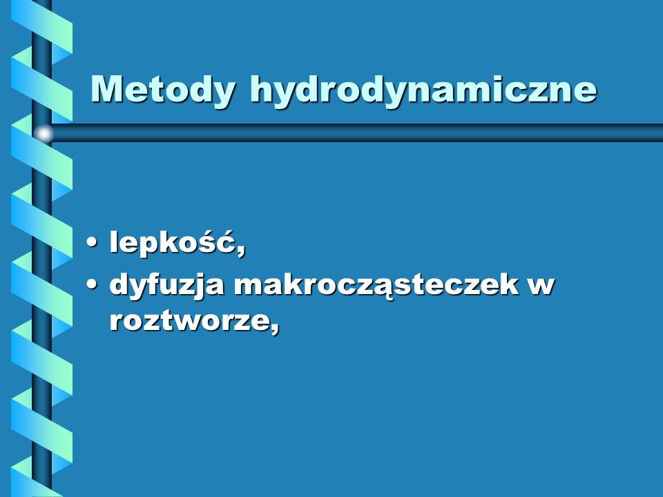 Metody hydrodynamiczne lepkość,lepkość, dyfuzja makrocząsteczek w roztworze,dyfuzja makrocząsteczek w roztworze,