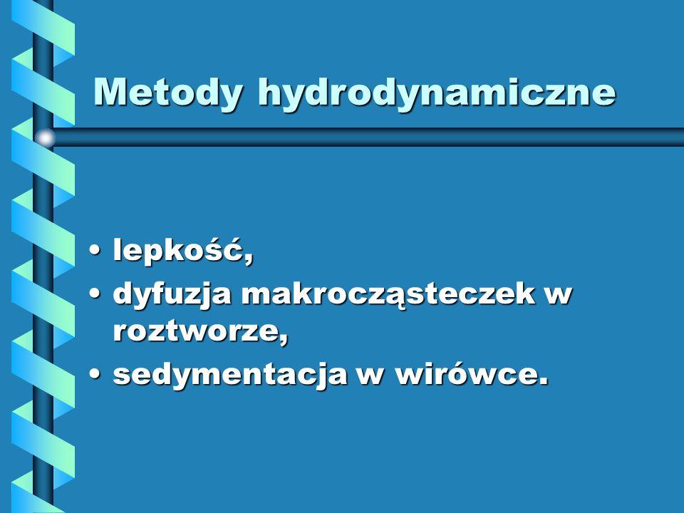 Metody hydrodynamiczne lepkość,lepkość, dyfuzja makrocząsteczek w roztworze,dyfuzja makrocząsteczek w roztworze, sedymentacja w wirówce.sedymentacja w