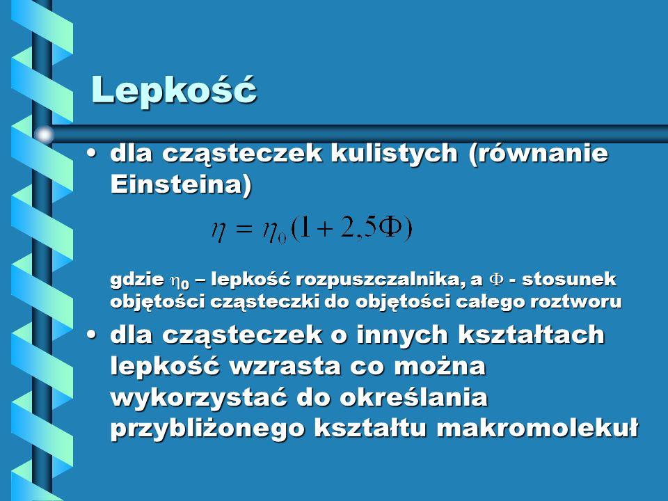 dla cząsteczek kulistych (równanie Einsteina)dla cząsteczek kulistych (równanie Einsteina) gdzie 0 – lepkość rozpuszczalnika, a - stosunek objętości c