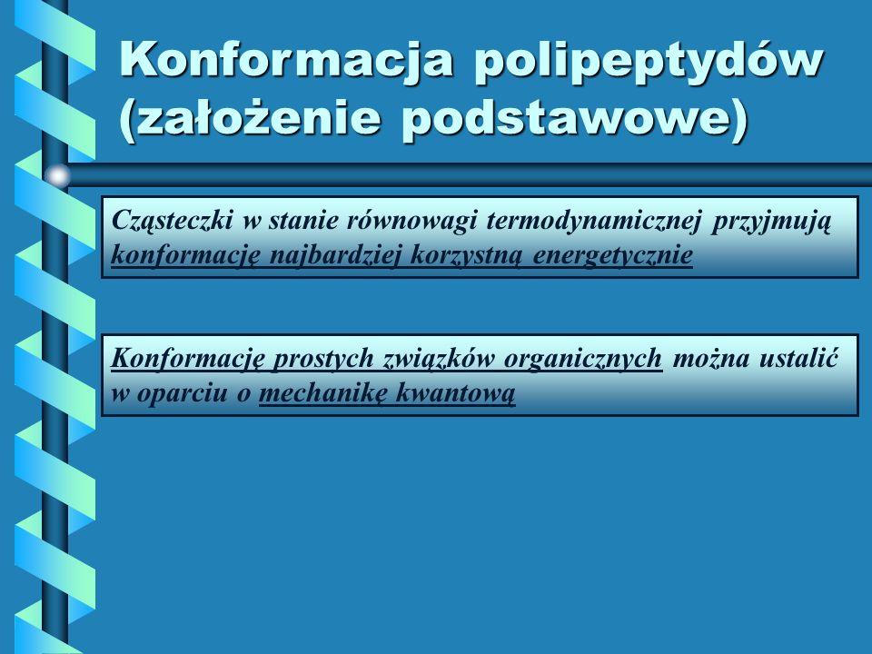 Konformacja polipeptydów (założenie podstawowe) Cząsteczki w stanie równowagi termodynamicznej przyjmują konformację najbardziej korzystną energetyczn