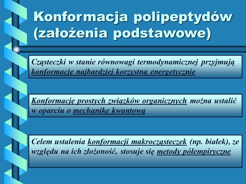 Konformacja polipeptydów (założenia podstawowe) Cząsteczki w stanie równowagi termodynamicznej przyjmują konformację najbardziej korzystną energetyczn