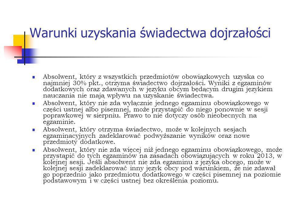 Termin wydania świadectw dojrzałości i aneksów do świadectw dojrzałości z egzaminu maturalnego przeprowadzanego w maju i w czerwcu 2013 roku: 28 czerwca 2013 r.
