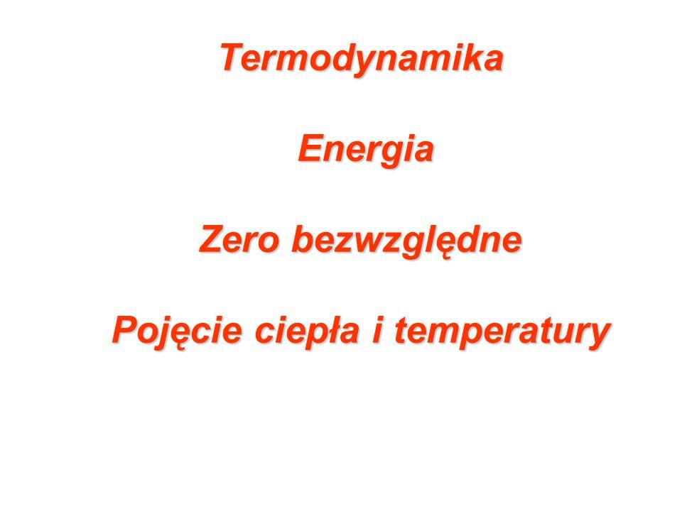 Termodynamika Energia Zero bezwzględne Pojęcie ciepła i temperatury