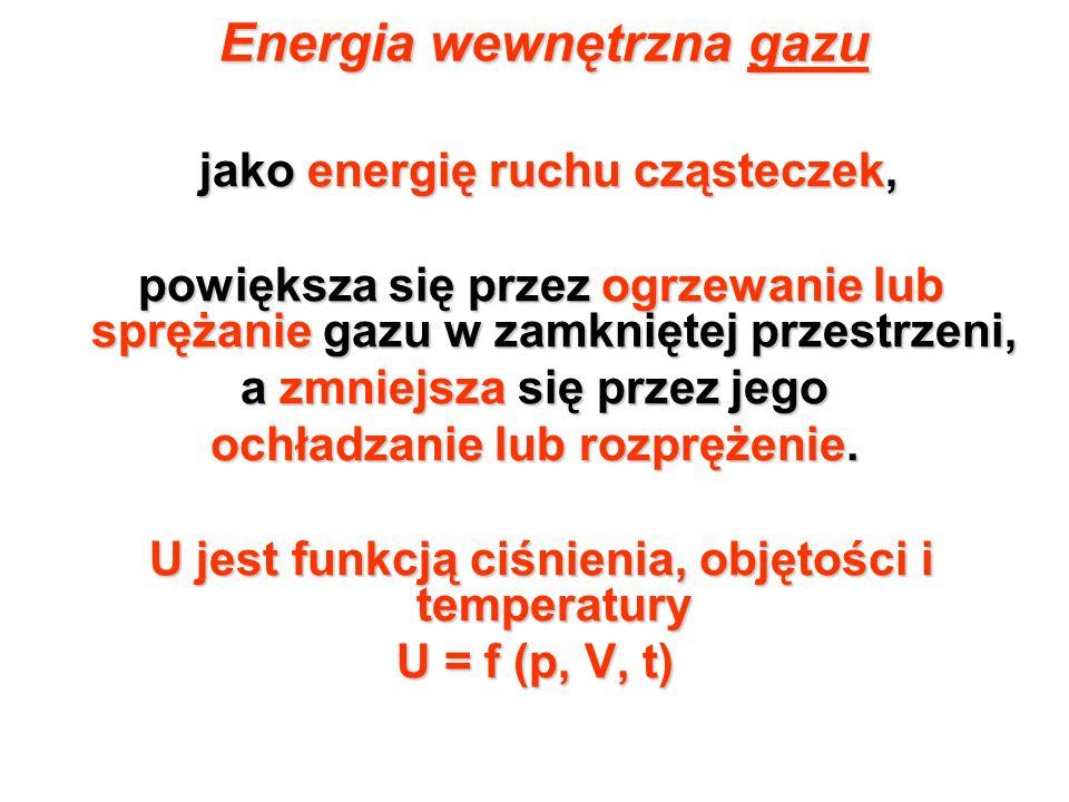 Energia wewnętrzna gazu jako energię ruchu cząsteczek, jako energię ruchu cząsteczek, powiększa się przez ogrzewanie lub sprężanie gazu w zamkniętej p