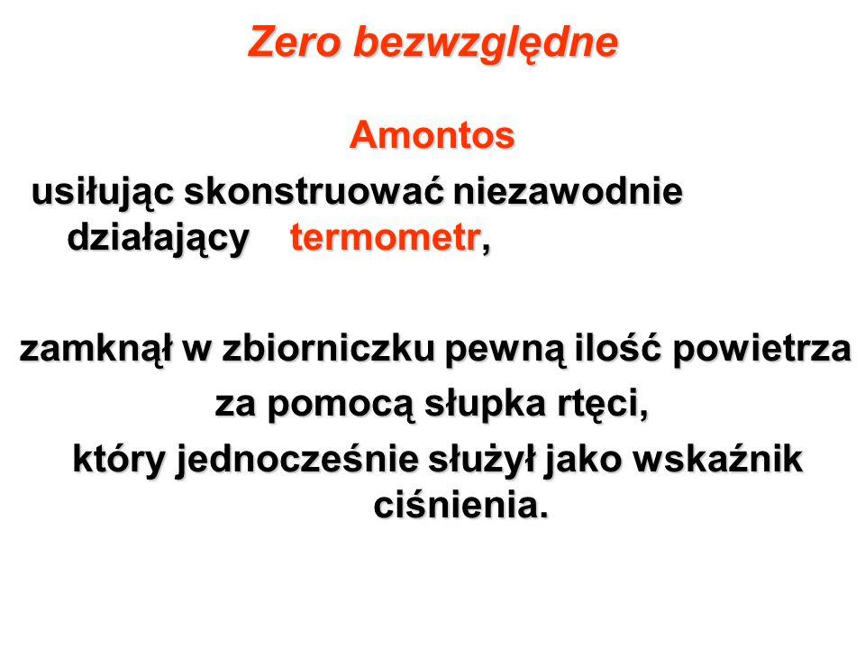 Zero bezwzględne Amontos usiłując skonstruować niezawodnie działający termometr, usiłując skonstruować niezawodnie działający termometr, zamknął w zbi