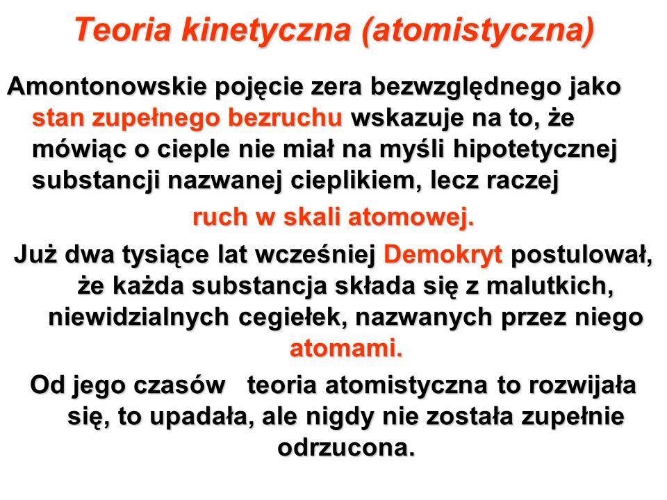 Teoria kinetyczna (atomistyczna) Amontonowskie pojęcie zera bezwzględnego jako stan zupełnego bezruchu wskazuje na to, że mówiąc o cieple nie miał na