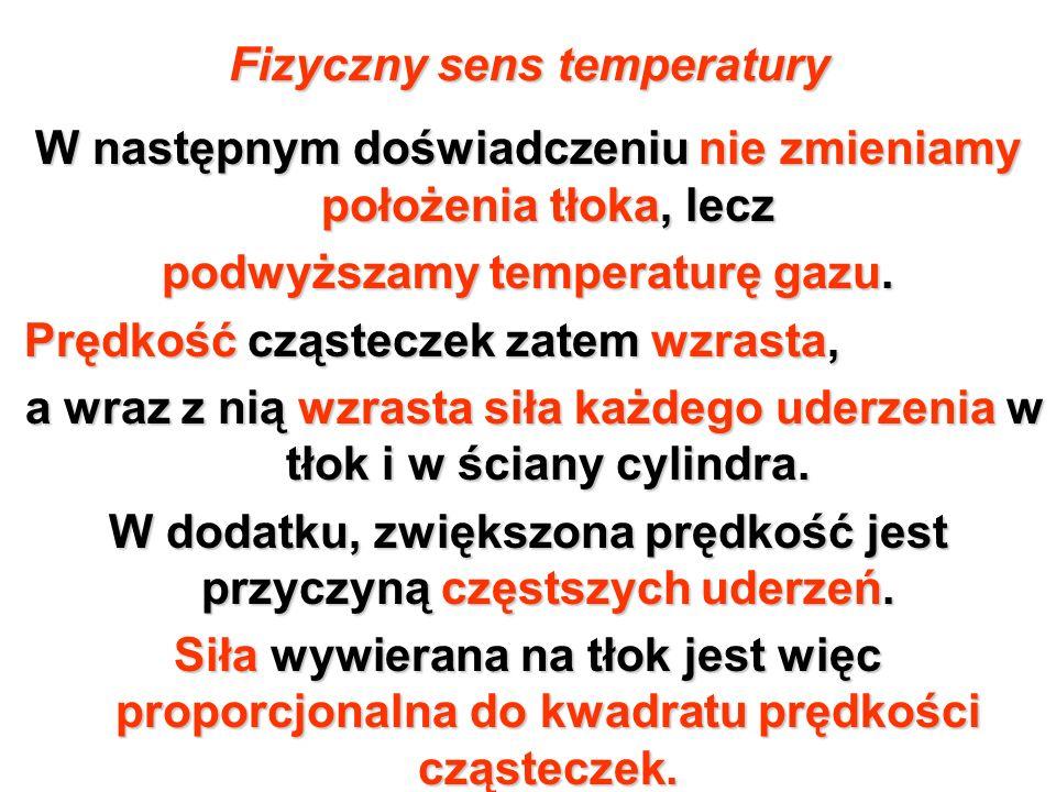 Fizyczny sens temperatury W następnym doświadczeniu nie zmieniamy położenia tłoka, lecz podwyższamy temperaturę gazu. Prędkość cząsteczek zatem wzrast