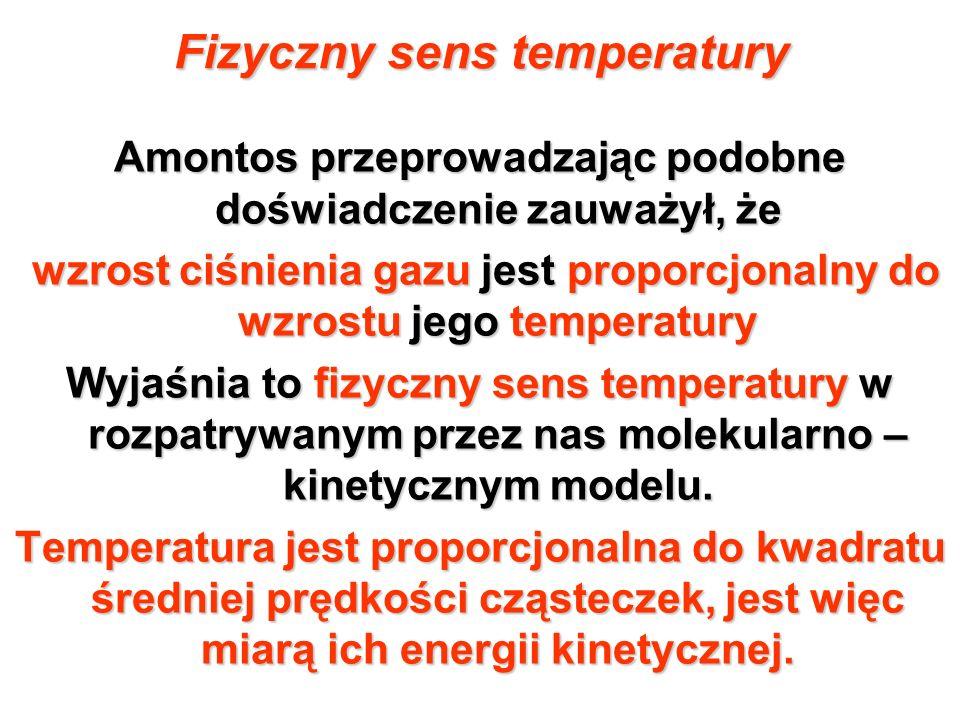 Fizyczny sens temperatury Amontos przeprowadzając podobne doświadczenie zauważył, że wzrost ciśnienia gazu jest proporcjonalny do wzrostu jego tempera