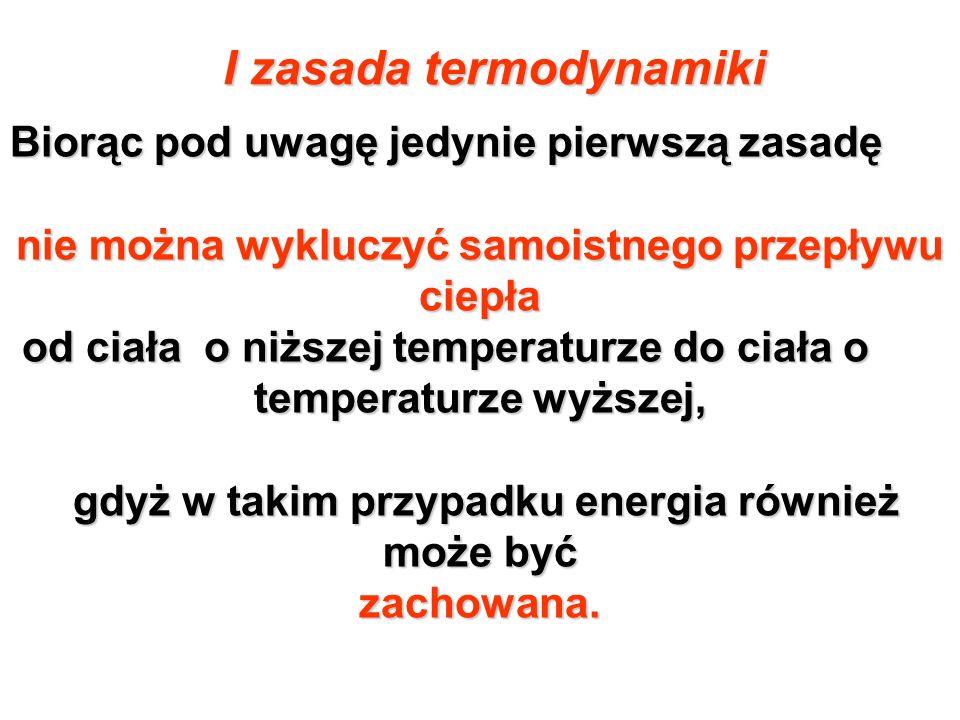 Druga Zasada Termodynamiki Wskazuje na niemożność samorzutnego przepływu ciepła od ciała zimniejszego do ciała cieplejszego wskazuje ( Clausius).