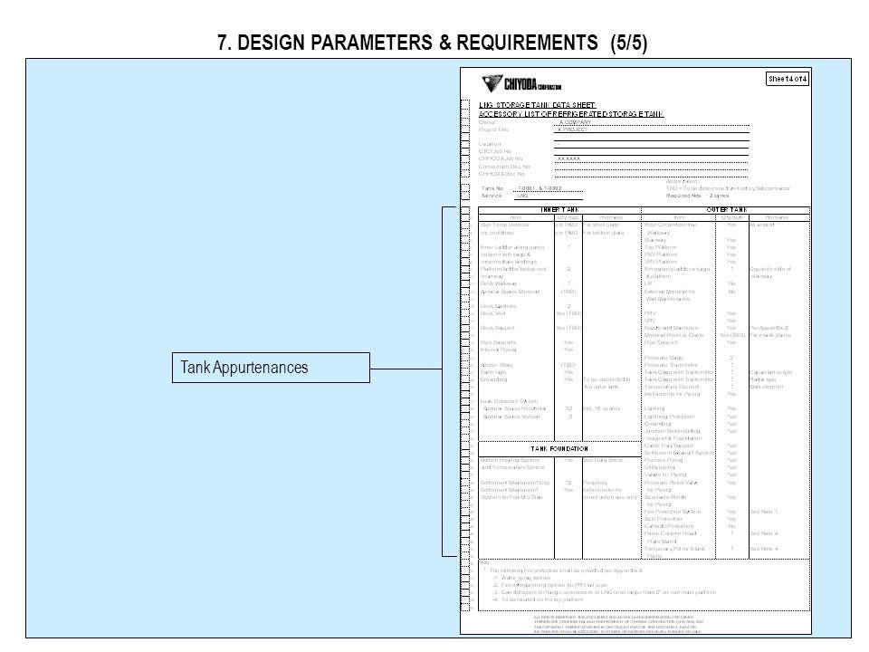 7. DESIGN PARAMETERS & REQUIREMENTS (4/5) Pump Column Design Data BOG Requirements BOG Performance Test Requirements