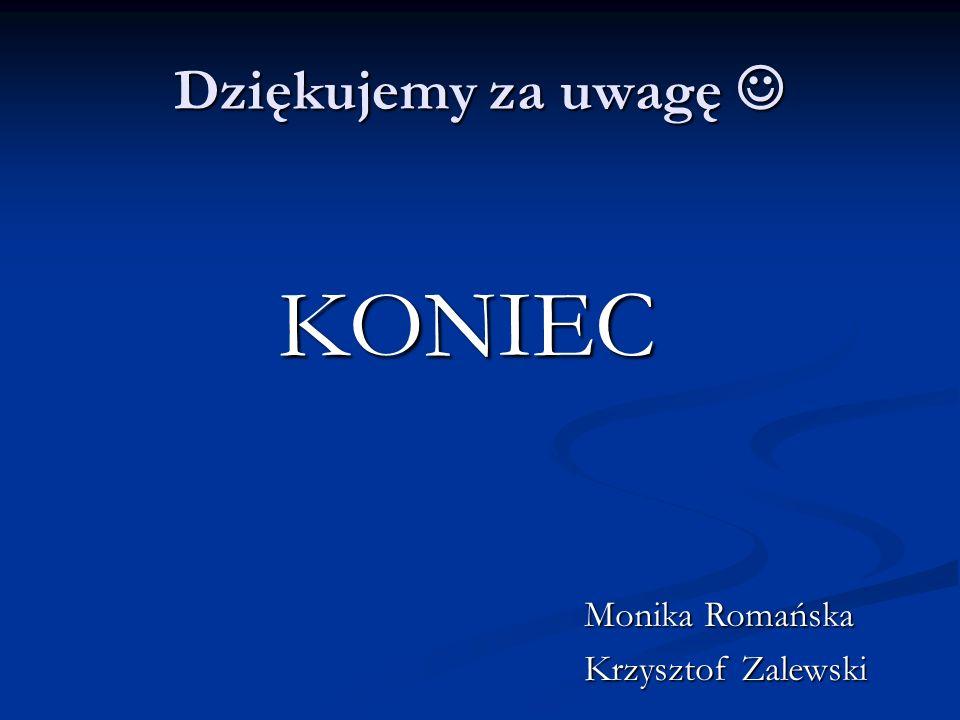 Dziękujemy za uwagę Dziękujemy za uwagę KONIEC Monika Romańska Krzysztof Zalewski
