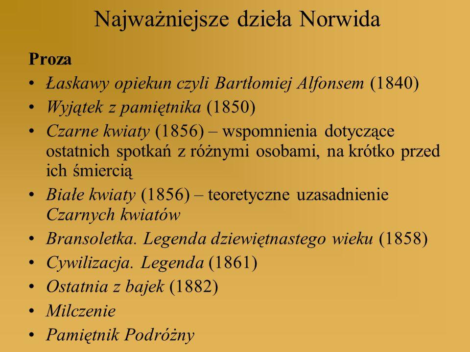 Najważniejsze dzieła Norwida Proza Łaskawy opiekun czyli Bartłomiej Alfonsem (1840) Wyjątek z pamiętnika (1850) Czarne kwiaty (1856) – wspomnienia dot