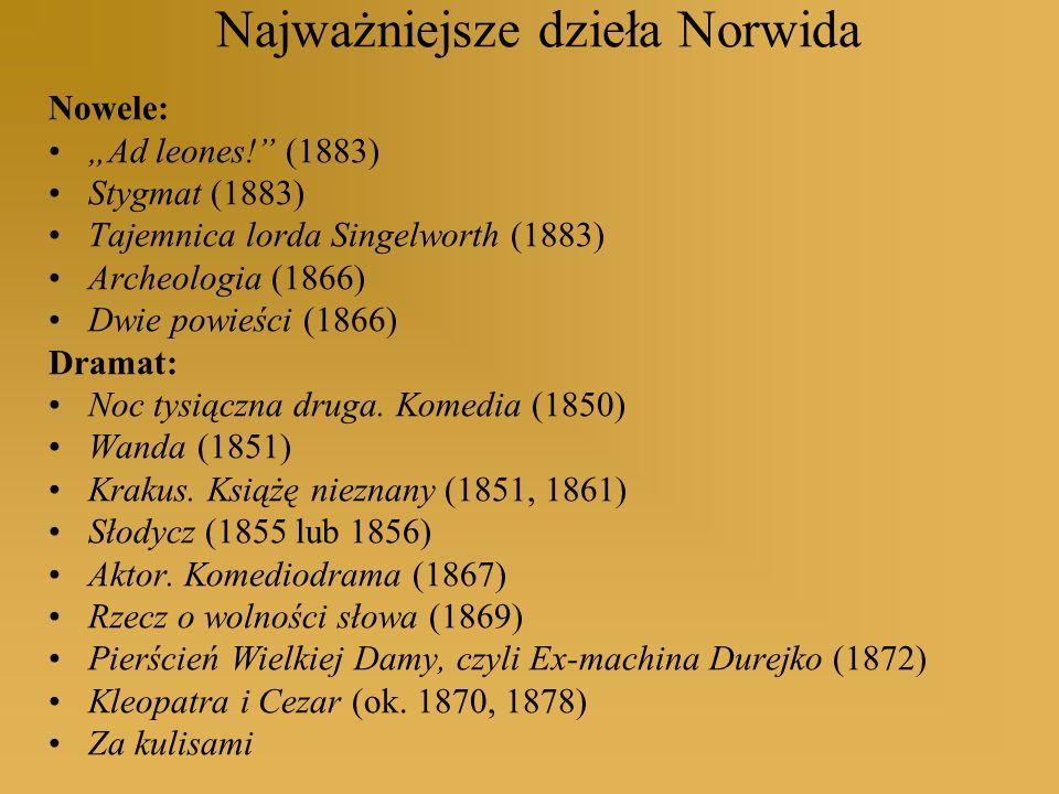 Najważniejsze dzieła Norwida Nowele: Ad leones! (1883) Stygmat (1883) Tajemnica lorda Singelworth (1883) Archeologia (1866) Dwie powieści (1866) Drama