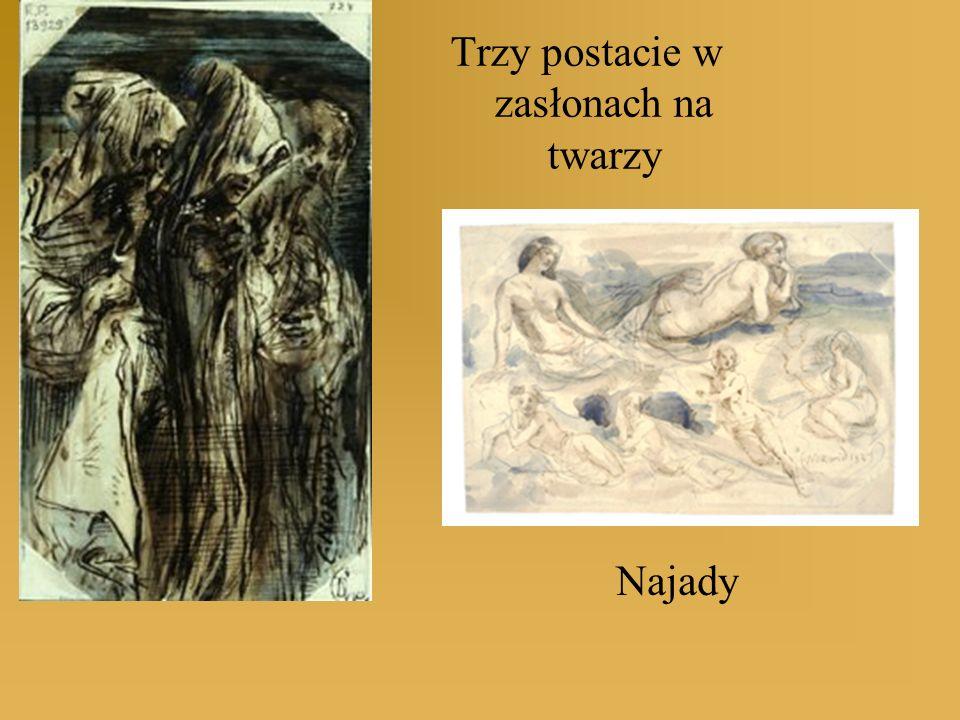 Trzy postacie w zasłonach na twarzy Najady