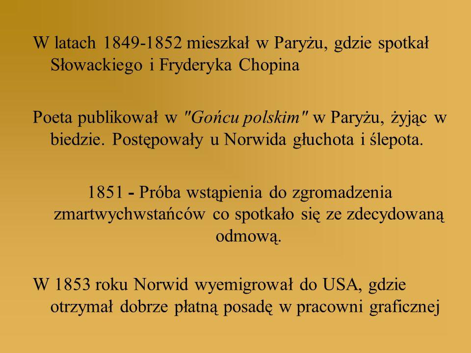 W latach 1849-1852 mieszkał w Paryżu, gdzie spotkał Słowackiego i Fryderyka Chopina Poeta publikował w