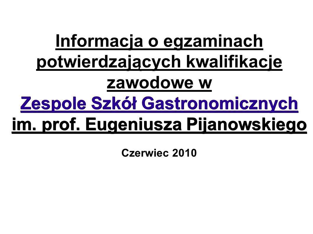 Zespole Szkół Gastronomicznych im. prof. Eugeniusza Pijanowskiego Informacja o egzaminach potwierdzających kwalifikacje zawodowe w Zespole Szkół Gastr