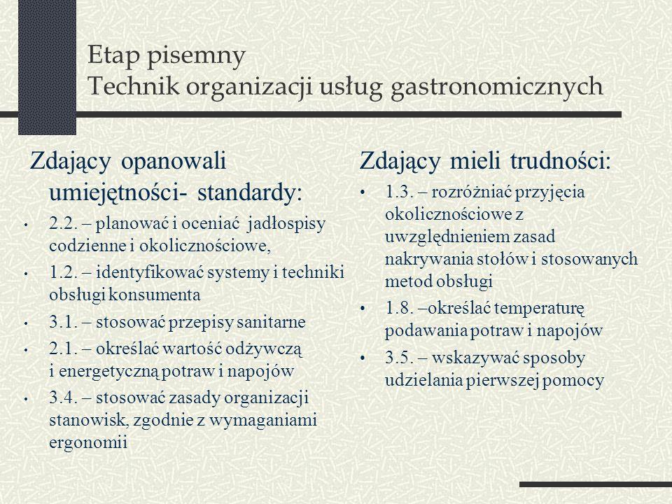 Etap pisemny Technik organizacji usług gastronomicznych Zdający opanowali umiejętności- standardy: 2.2. – planować i oceniać jadłospisy codzienne i ok