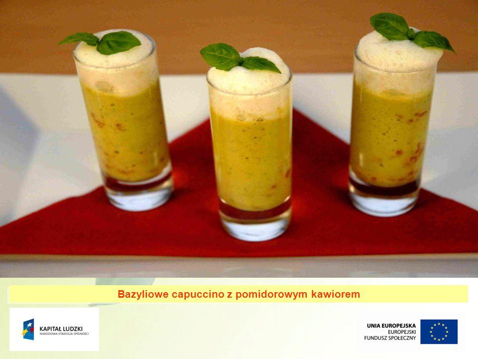 13 Bazyliowe capuccino z pomidorowym kawiorem