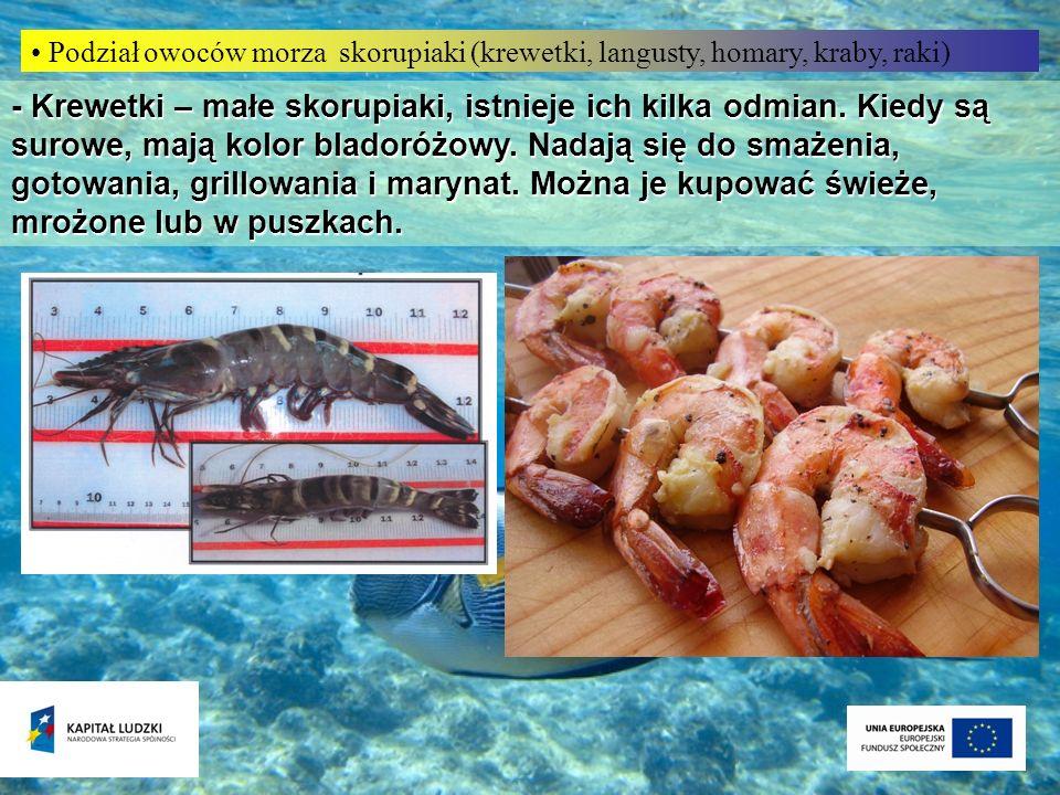 Podział owoców morza skorupiaki (krewetki, langusty, homary, kraby, raki) - Krewetki – małe skorupiaki, istnieje ich kilka odmian. Kiedy są surowe, ma