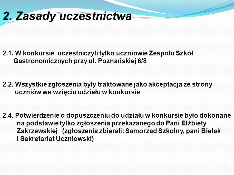 2.1. W konkursie uczestniczyli tylko uczniowie Zespołu Szkół Gastronomicznych przy ul. Poznańskiej 6/8 2.2. Wszystkie zgłoszenia były traktowane jako