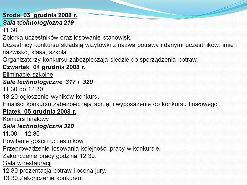 Środa 03 grudnia 2008 r. Sala technologiczna 219 11.30 Zbiórka uczestników oraz losowanie stanowisk. Uczestnicy konkursu składają wizytówki z nazwa po