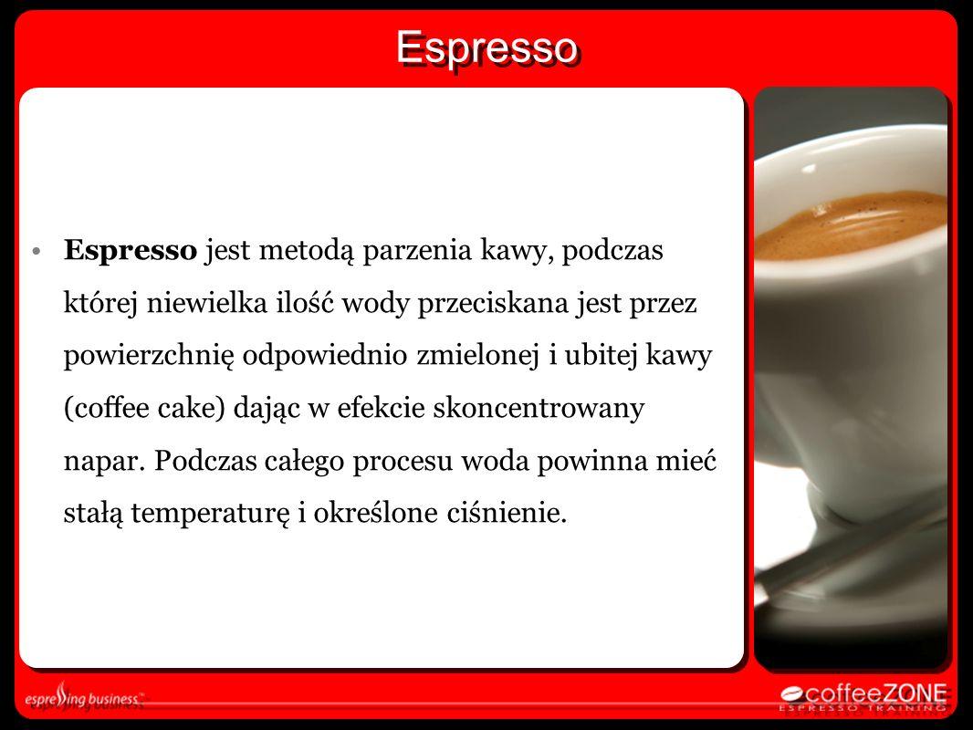 Espresso Espresso jest metodą parzenia kawy, podczas której niewielka ilość wody przeciskana jest przez powierzchnię odpowiednio zmielonej i ubitej ka