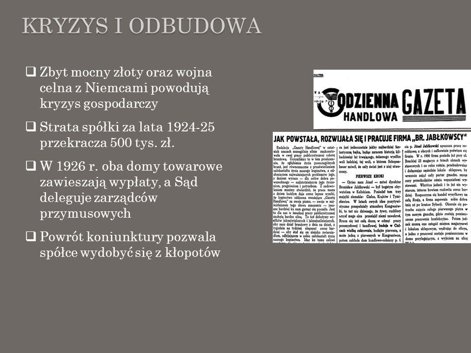 KRYZYS I ODBUDOWA Zbyt mocny złoty oraz wojna celna z Niemcami powodują kryzys gospodarczy Strata spółki za lata 1924-25 przekracza 500 tys. zł. W 192