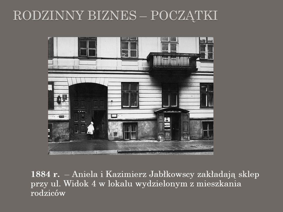 RODZINNY BIZNES – POCZĄTKI 1884 r. – Aniela i Kazimierz Jabłkowscy zakładają sklep przy ul. Widok 4 w lokalu wydzielonym z mieszkania rodziców