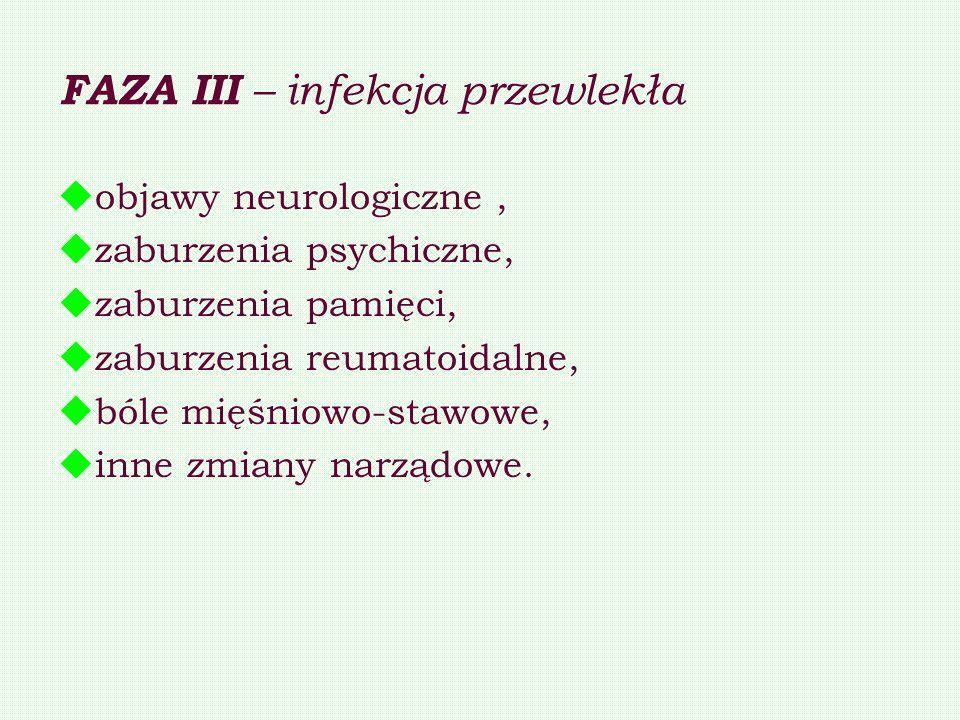 FAZA III – infekcja przewlekła objawy neurologiczne, zaburzenia psychiczne, zaburzenia pamięci, zaburzenia reumatoidalne, bóle mięśniowo-stawowe, inne