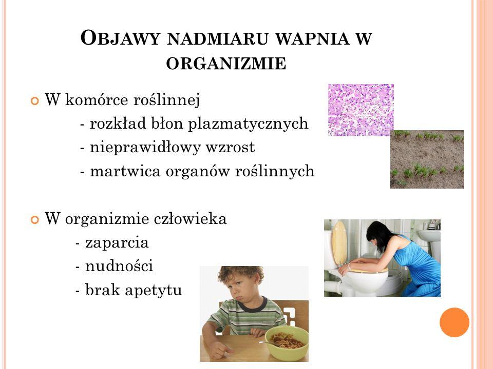 O BJAWY NADMIARU WAPNIA W ORGANIZMIE W komórce roślinnej - rozkład błon plazmatycznych - nieprawidłowy wzrost - martwica organów roślinnych W organizm