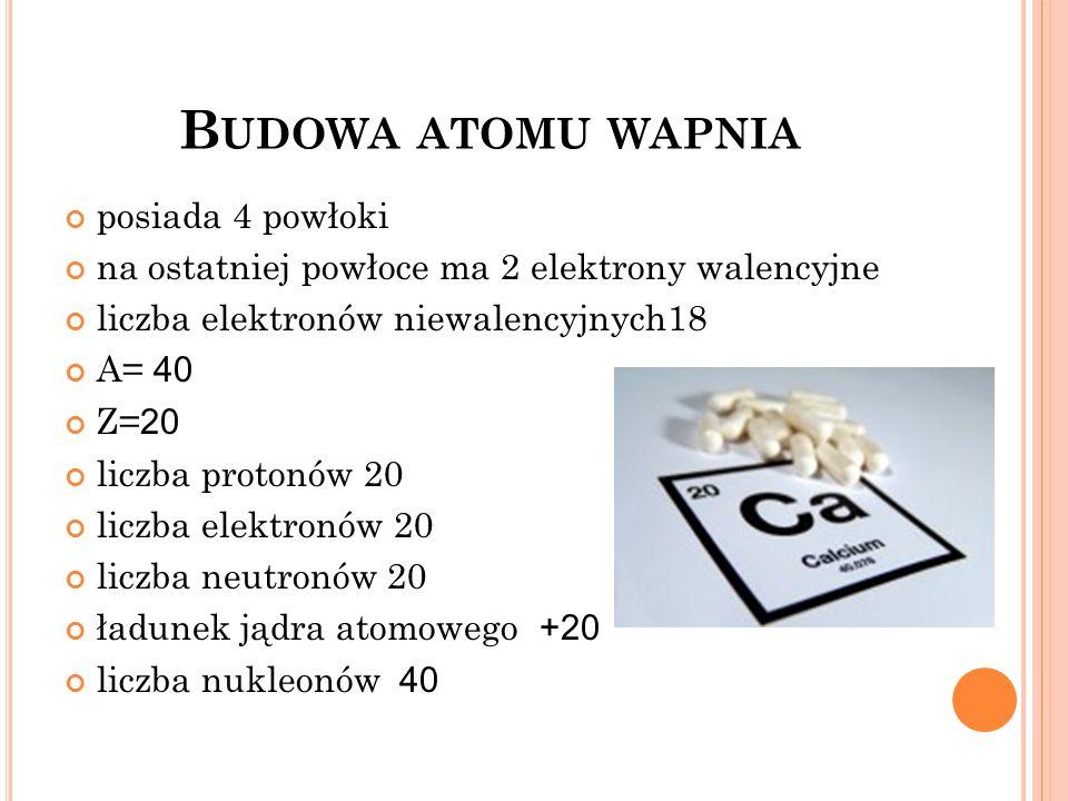 B UDOWA ATOMU WAPNIA posiada 4 powłoki na ostatniej powłoce ma 2 elektrony walencyjne liczba elektronów niewalencyjnych18 A= 40 Z= 20 liczba protonów