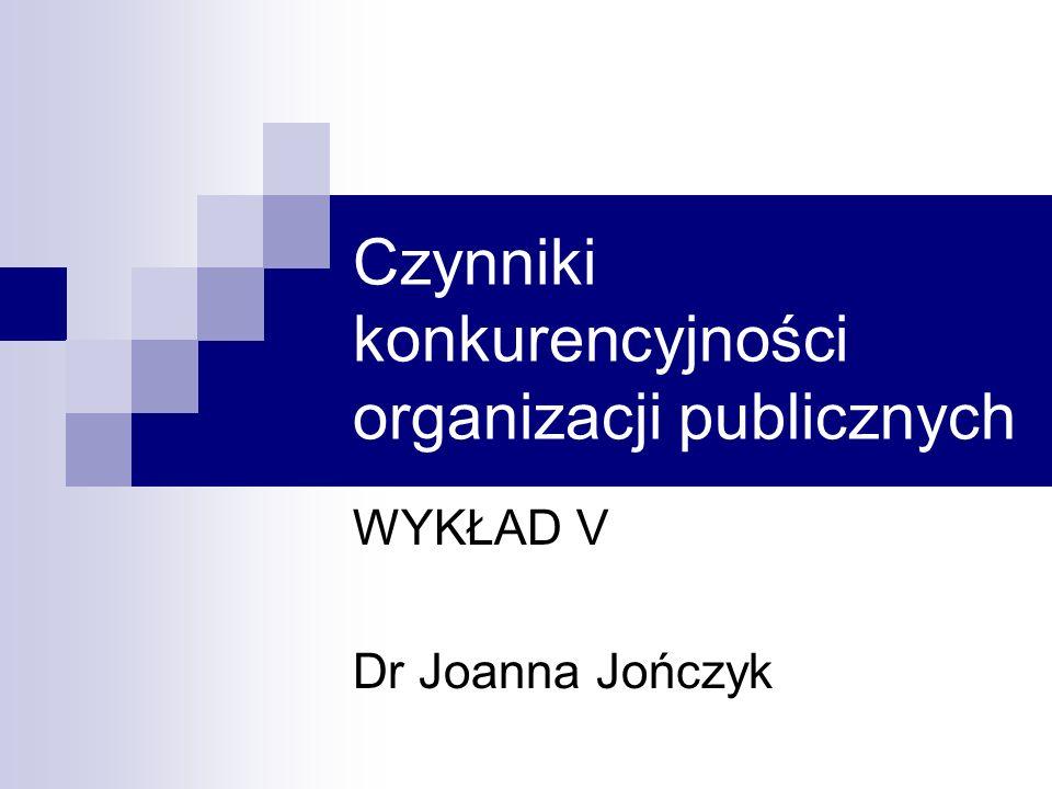 Czynniki konkurencyjności organizacji publicznych WYKŁAD V Dr Joanna Jończyk