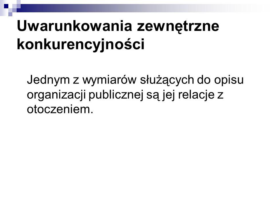 Uwarunkowania zewnętrzne konkurencyjności Jednym z wymiarów służących do opisu organizacji publicznej są jej relacje z otoczeniem.