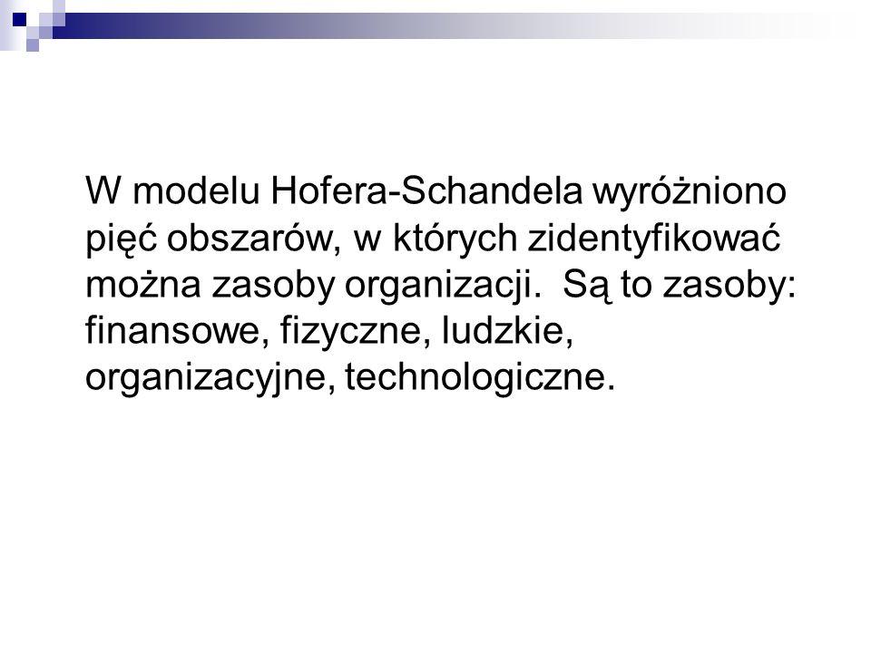 W modelu Hofera-Schandela wyróżniono pięć obszarów, w których zidentyfikować można zasoby organizacji. Są to zasoby: finansowe, fizyczne, ludzkie, org
