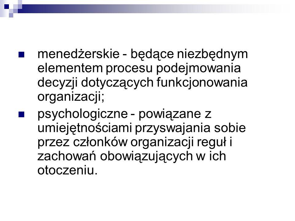 menedżerskie - będące niezbędnym elementem procesu podejmowania decyzji dotyczących funkcjonowania organizacji; psychologiczne - powiązane z umiejętno