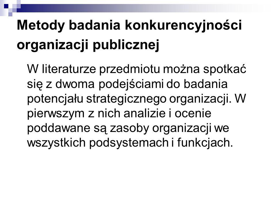Metody badania konkurencyjności organizacji publicznej W literaturze przedmiotu można spotkać się z dwoma podejściami do badania potencjału strategicz