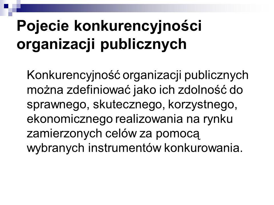 Pojecie konkurencyjności organizacji publicznych Konkurencyjność organizacji publicznych można zdefiniować jako ich zdolność do sprawnego, skutecznego