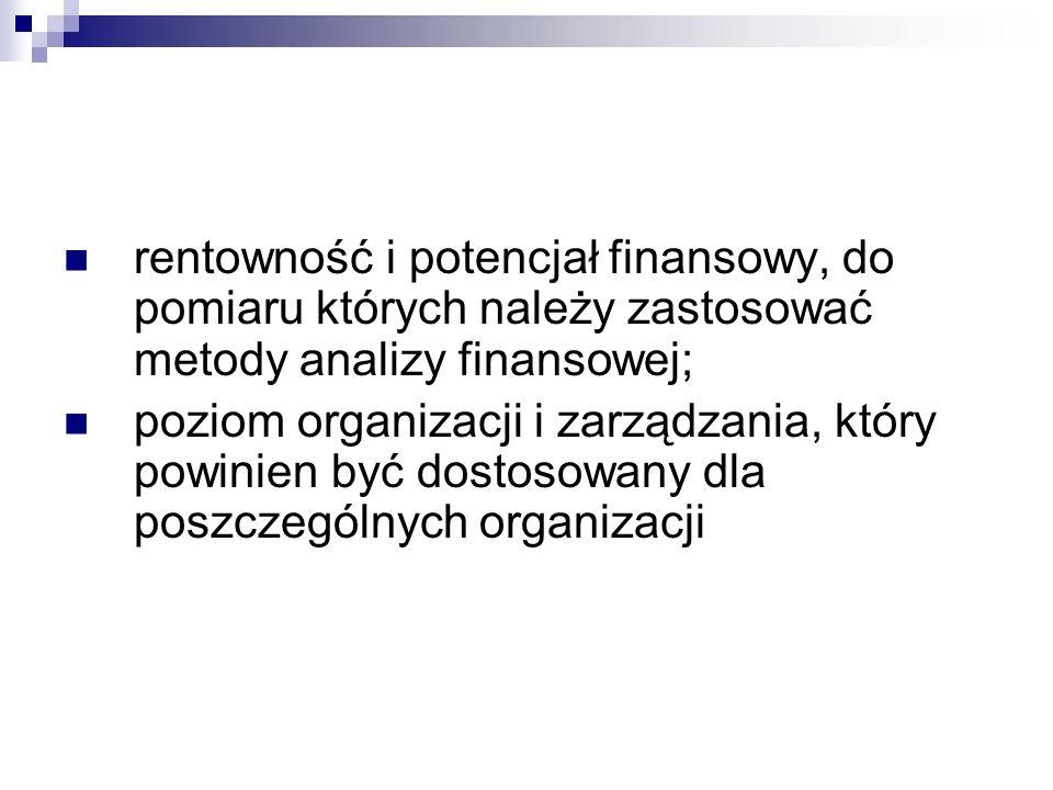 rentowność i potencjał finansowy, do pomiaru których należy zastosować metody analizy finansowej; poziom organizacji i zarządzania, który powinien być